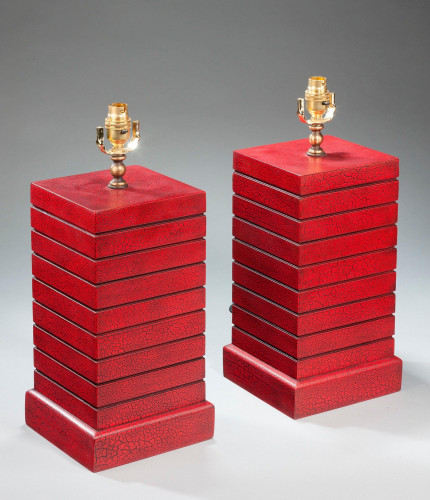 Pair of Square Section Crackleware Lamps