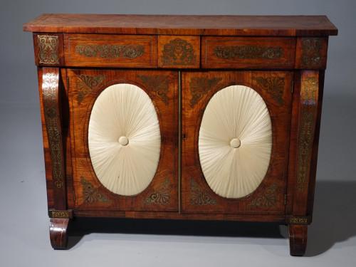 Very Fine Quality Slender Regency Brass Inlaid Side Cabinet