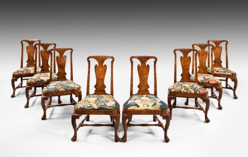 A Set of Eight George II Walnut Side Chairs