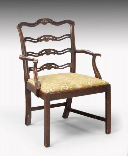 A Substantial Early 20th Century Chippendale Style Ladderback Elbow Chair
