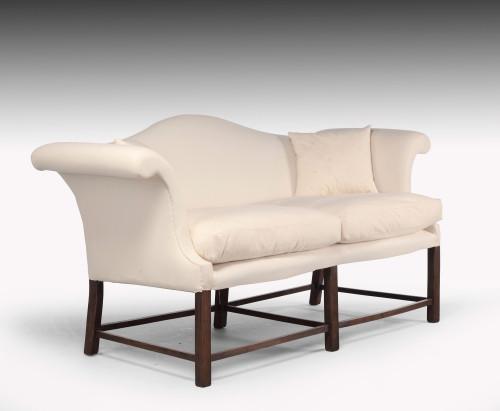 A Modern Neoclassical   Hepplewhite Camel Backed Sofa