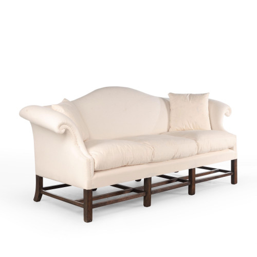 An Attractive Late 20th Century Hepplewhite Style Camelback Sofa