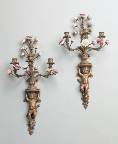 A Well Formed Pair of Mid 19th Century Bronze Wall Lights