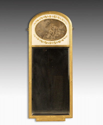 A Late 19th Century French Giltwood Trumeau Mirror.