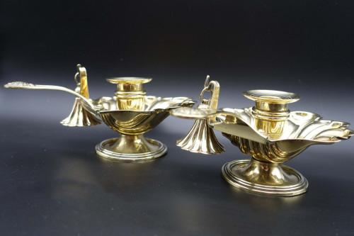 A Charming Pair of Mid 19th Century Brass Chambersticks