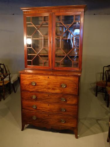 A Good George III Period Mahogany Secretaire Bookcase