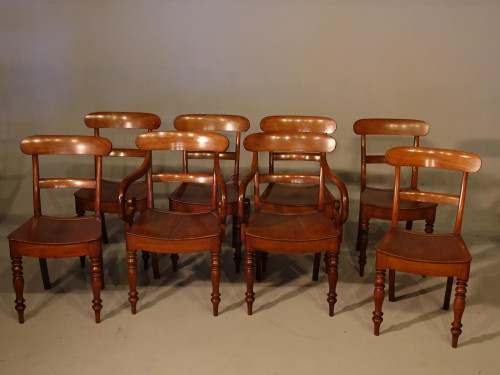 A Most Attractive Set of Eight (6+2) Mid 19th Century Mahogany Chairs