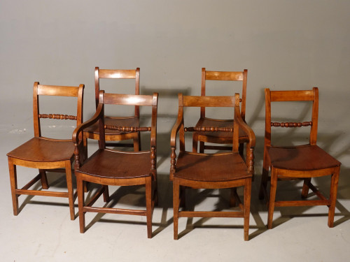 A Good and Original Set of Six (4+2) Mid 19th Century Walnut and Oak Chairs