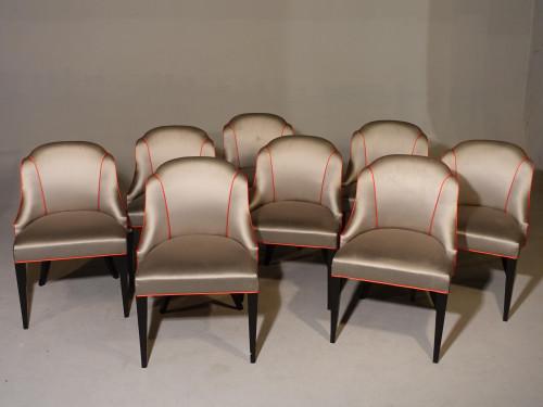A Good Set of 8 Art Deco Period Salon Chairs