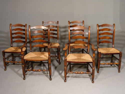 A Mid 20th Century Set of 6 (4+2) Wavy Elm Ladderback Chairs