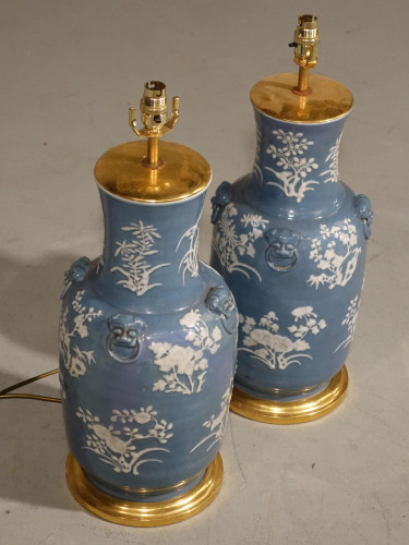 A Large Pair of Modern Cantonese Porcelain Vase Lamps