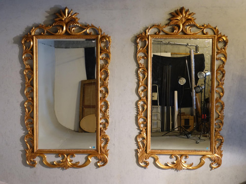 A Remarkable and Large Pair of Mid 20th Century Italian Giltwood Mirrors