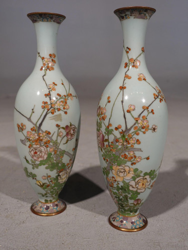 A Pretty Pair or Early 20th Century Japanese Cloisonné Vases