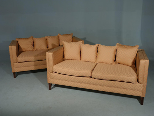 A Handsome Pair Of Modern Square Section Sofas