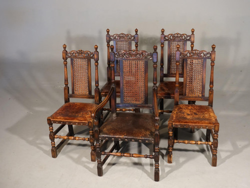A Well Carved Set of 5 (4+1) Carolean Style Oak Chairs