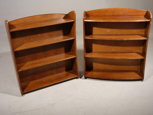 A Small Mid 20th Century Pair of Remploy Mahogany Open Bookshelves