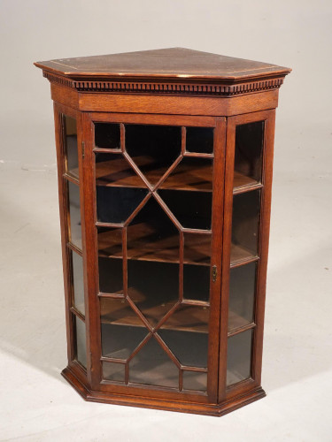 A Late Georgian Period Oak Glazed Corner Cupboard