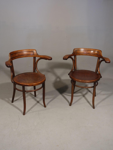 A Pair of Early 20th Century Bentwood Desk Chairs