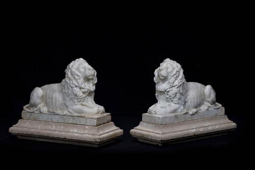 A Fine Pair of Regency Period Italian Marble Lions