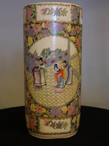 An Attractive Mid 20th Century Cantonese Porcelain Stick Stand