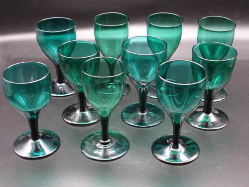 A Composite Set of 10 Georgian Cream Wine Glasses