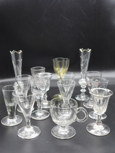 A Collection of 16 Mainly Georgian Wine Glasses