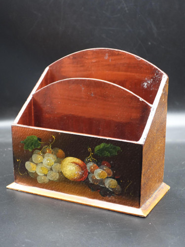 An Early 20th Century Stained Beech and Painted Correspondence Box