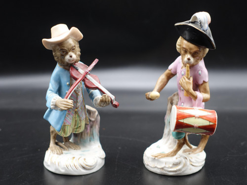 A Pair of Late 19th Century Meissen Monkey Band Figures