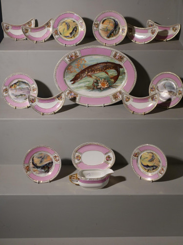 An Early 20th Century 17 Piece Dresden Style Porcelain Fish Service