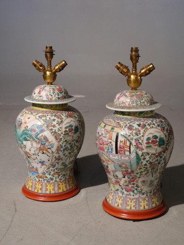 A Good Pair of Mid 20th Century Cantonese Baluster Vase Lamps