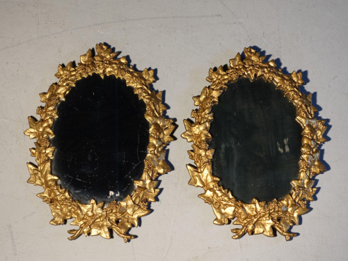 A Good Pair of Late 19th Century Small Gilded Cast Iron Mirrors