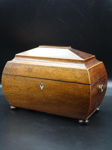 A Good Regency Period Mahogany Plum Pudding Shaped Caddy