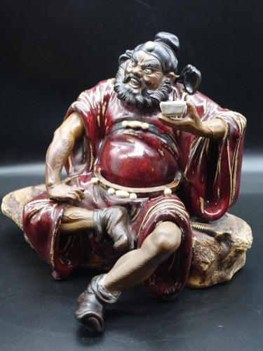 A Large Early 20th Century Chinese Shiwan Figure of Zhong Kui