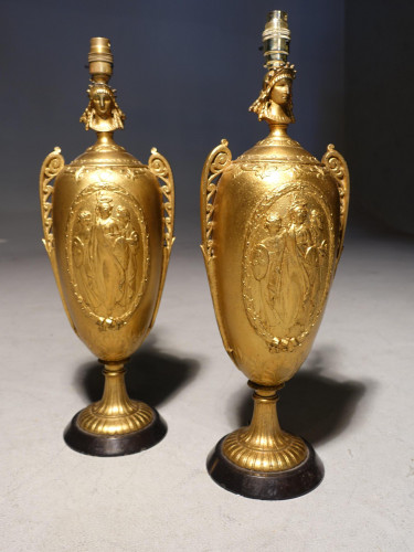 A Pair of Early 20th Century French Ovoid Vase Lamps