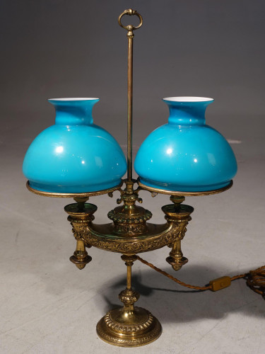 A Rare Early 20th Century French Double Bouillotte Lamp