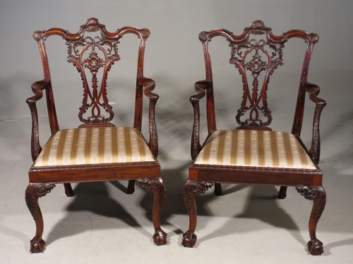 A Fine Quality Pair of Chippendale Style Mahogany Elbow Chairs