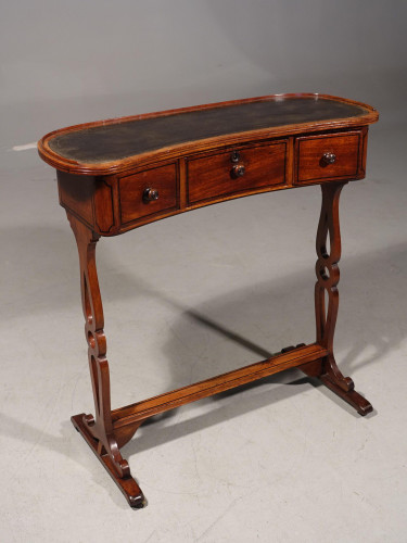 A Rare and Very Slender Early 19th Century Kidney Shaped Writing Table