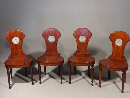 A Good and Original Set of 4 George III Period Mahogany Hall Chairs