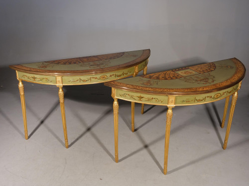 A Very Fine Pair of Early 19th Century Demilune Pier Tables