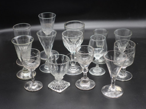 A Collection of 15 Mainly Georgian Wine Glasses