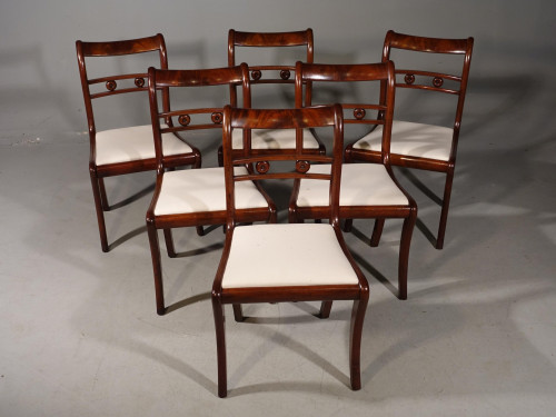 An Elegant Set of 6 Sabre Legged Mahogany Dining Chairs