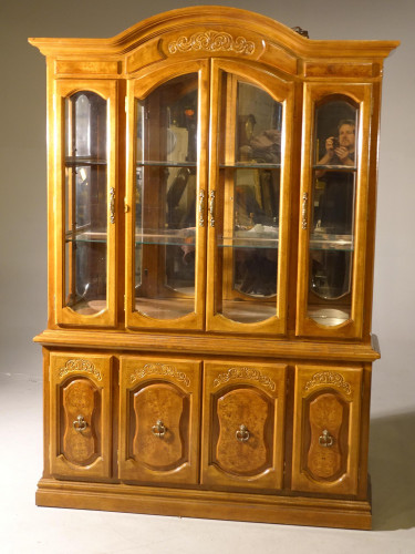 A Good Quality Late 20th Century Burr Walnut and Oak Bookcase