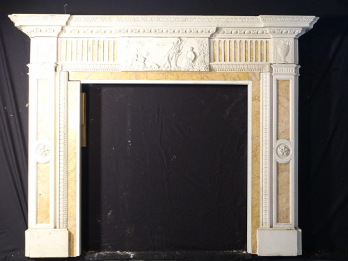 A Splendid Pair of Late 19th Century Neoclassic Carrara Marble Fireplaces
