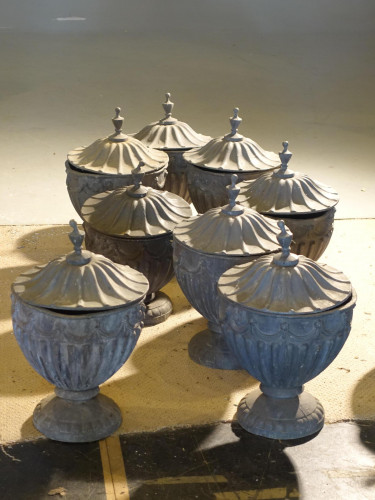 A Suite of 8 Late 19th Century Robert Adam Influenced Lead Urns