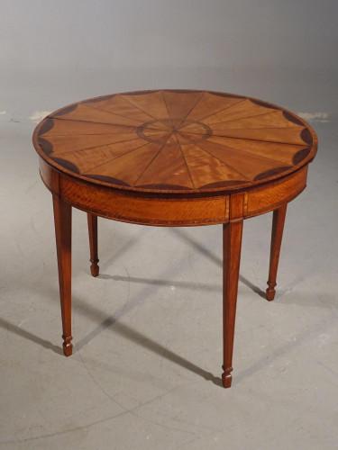 An Outstanding George III Period Satinwood Demilune Tea Table