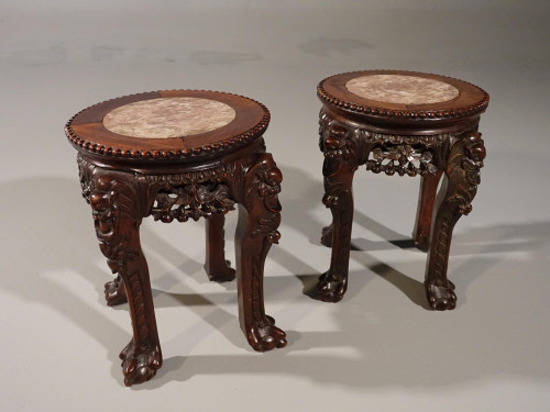 A Good Pair of Late 19th Century Oriental Teak Stands