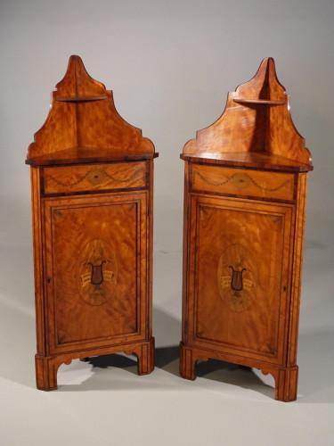 An Unusual Pair of Late 19th Century Satinwood Corner Cupboards