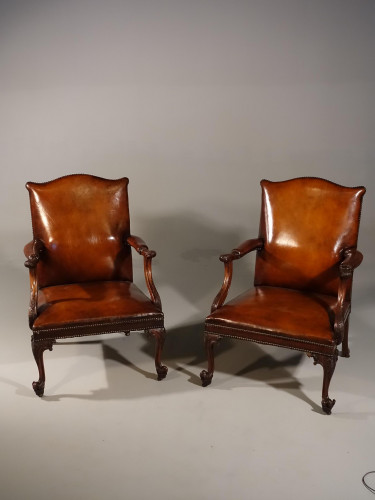 An Exceptional Pair of Late 19th Century Mahogany Framed Library Chairs