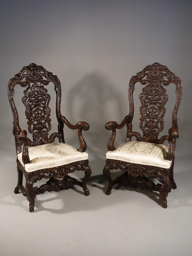 A Remarkable Pair of Late 19th Century Walnut Throne Chairs