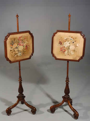 An Attractive Pair of Regency Period Adjustable Poll Screens